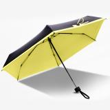 17Cm Lightweight Pocket Vinyl Parasol Five Fold Umbrella Lemon Yellow For Sale