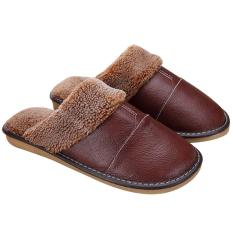 1Pair Men Winter Warm Soft Anti Slip Genuine Leather Slippers For Bedroom Living Room Office Apartment Hotel Eu 39 40 Us 8 9 Size Brown Intl Compare Prices