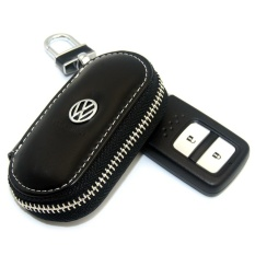 1X Black Leather Key Wallet Car Key Case Leather Key Holder For Vw Passat Tiguan Scirocco Series Intl Coupon