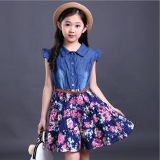 Sale 2 12 Years Kids Girls Dress 2018 Summer Denim Skirt Cotton Short Sleeve Floral Dress Qibushi Online
