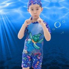 d45e8ed369 2-13Y Kids Boys Two Piece Swimsuit Summer Short Sleeve Swimwear Child Swim  Trunks Bathing