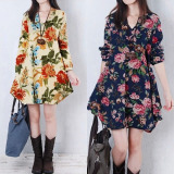 Promo 2 Pcs Hot Sale Dresses Zanzea New S*Xy Womens Floral Linen Long Sleeve V Neck Cute Color Apricot Size M Dark Blue Size L Short Mini Dress Intl