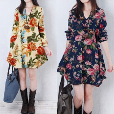 2 Pcs Hot Sale Dresses Zanzea New S*Xy Womens Floral Linen Long Sleeve V Neck Cute Color Apricot Size M Dark Blue Size L Short Mini Dress Intl Price