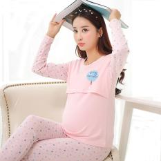 2 Piece Set Knitted Cotton Pregnant Woman Pajamas Breast Feeding Clothes Pink Intl For Sale