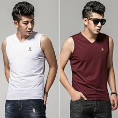 Men Sleeveless Cut Sleeves Wide Shoulder Sports Fitness Hurdles Tide Waistcoat 1021 White 1021 Red Wine For Sale Online