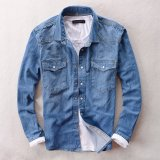 Latest Tide Male New Spring And Autumn Long Sleeve Denim Shirts Light Blue Light Blue