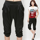 Low Price European And American Summer New Style High Grade Silk Pants Navy Blue Navy Blue