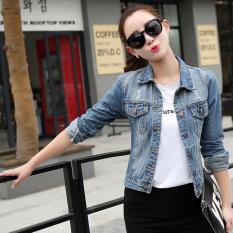 2016 Autumn Korean Fashion Long Sleeved Retro Demin Jacket Dark Reviews