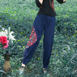 Where Can I Buy Loose Versatile Linen Plus Sized Straight Women S Pants Baggy Pants Dark Blue