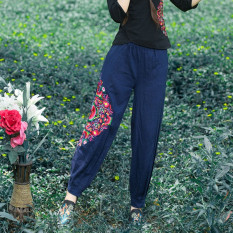 Loose Versatile Linen Plus Sized Straight Women S Pants Baggy Pants Dark Blue Promo Code