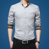 Men S Male Shirt New Style Slim Fit Korean Style Solid Color Long Sleeved Gray Gray On Line