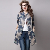 Get Cheap Casual Loose Long Section Shirt Print Shirt Deep Khaki Cloth Color Deep Khaki Cloth Color