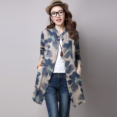 Best Deal Casual Loose Long Section Shirt Print Shirt Deep Khaki Cloth Color Deep Khaki Cloth Color