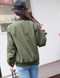 Buy 2016 Autumn Winter Long Sleeve Slim Jackets Vintage Stand Collar Celeb Bomber Coats Casual Solid Outwear Army Green Oem Online