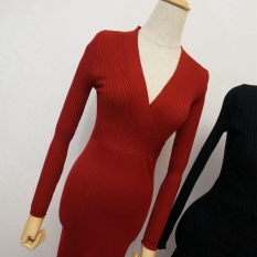 Price Comparisons For Women S S*Xy V Neck High Waisted Knitted Dress Red Wine Red Wine