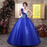 Sale Women S One Shoulder Long Gown Blue Blue Oem Cheap