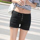2016 Fresh Denim Shorts In Elastic Waist Slim Slim Stylish Jeans Black Export Intl Price