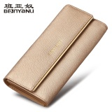 Discount European And American Leather High Capacity Tri Fold Leather Wallet Golden Oem China