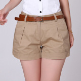 2016 Korea Summer Woman Cotton Shorts Lady Casual Short Trousers Solid Color Khaki White No Include Belt Lower Price