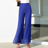 Korean Style Chiffon New Style Spring Summer Wide Leg Pants Yx 1316 Navy Blue Shopping