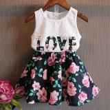 Best Rated 2016 New Children Summer Girls Fashion Letter Love Flower Vest Short Skirt Set Toddler Kids Clothes Suit 2 Piece Outfit