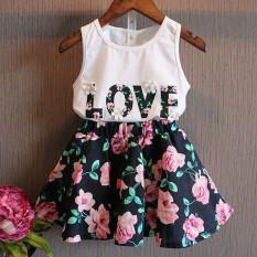 2016 New Children Summer Girls Fashion Letter Love Flower Vest Short Skirt Set Toddler Kids Clothes Suit 2 Piece Outfit In Stock