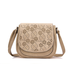 2016 New Fashion Pu Leather Shoulder Sling Bag With Floral Hollow Out Apricot Intl For Sale