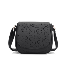 Lowest Price 2016 New Fashion Pu Leather Shoulder Sling Bag With Floral Hollow Out Black