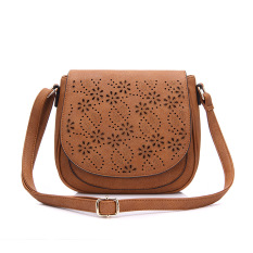 2016 New Fashion Pu Leather Shoulder Sling Bag With Floral Hollow Out Brown Lower Price
