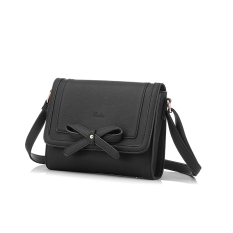 Great Deal 2016 New Fashion Pu Leather Shoulder Sling Bag With Small Bowknot Black
