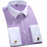 2016 New French Cufflinks Business Men Long Sleeved Striped Plus Size Formal Shirt Purple Mfs12 S 6Xl Oem Cheap On China