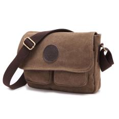 Buying 2016 New Men S Vintage Canvas Leather Satchel Military Shoulder Bag Messenger Bag Coffee