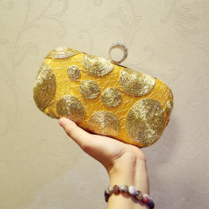 Review Small Square Crystal Silver New Style Chain Shoulder Bag Clutch Bag Golden Golden On China