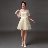 Coupon New Style Bridesmaid Bride Wedding Dress Toast Evening Gown 568 Short Champagne Color