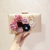 Sale Women S Korean Style Pearl And Flower Clutch Beige Beige Online China