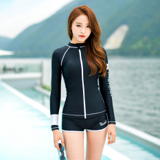 Female New Style Split Jellyfish Long-Sleeved Swimming Clothing (black) (black) By Taobao Collection.