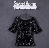 2016 New Summer Fashion Brilliant Sequin Shirt Women Short Sleeved Blouse Blusas Plus Size Women Tops 5Xl Intl Coupon