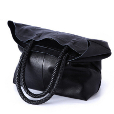 Retail 2016 New Women Handbag Black Genuine Leather Shoulder Bag Cowhide Ladies Black Brown Casual Shopping Bag Large Capacity Tote Bolsos Intl
