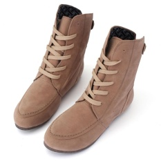 Top Rated 2016 New Womens Ankle Boots Lace Up High Top Flat Wedge Shoes Winter Sneakers Intl