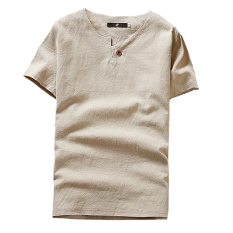 Price Comparisons For Solid Color Men Short Sleeves Breathable T Shirt Beige Beige