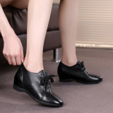 Best Women S Big Size Heighten Deep Mouth Tie Round Toe Leather Shoes Black Black