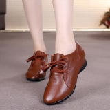 Buy Women S Big Size Heighten Deep Mouth Tie Round Toe Leather Shoes Deep Brown Deep Brown Oem Cheap
