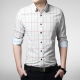 Men S Spring And Autumn New Style Plaid Slim Fit Korean Style Long Sleeved Shirt For Sale