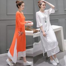 Sale Women S Lotus Print Cotton Linen Dress White Orange Sky Blue Nacarat Nacarat Oem