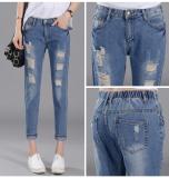 List Price 2016 Spring Autumn Elastic Waist Women Hole Cropped Jeans Ladies Loose Slim Fit Harem Pant Dark Blue Intl Oem