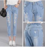 Compare 2016 Spring Autumn Elastic Waist Women Hole Cropped Jeans Ladies Loose Slim Fit Harem Pant Light Blue Intl Prices