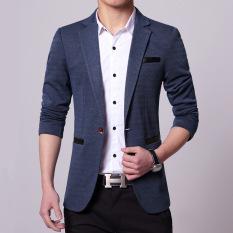 Retail 2016 Spring Autumn Men Jacket Male Casual Blazer Coat Slim Fit Suit Blue Intl