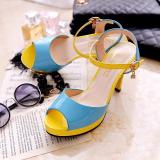 Cheap In Europe And America Spell Color High Heeled Waterproof Taiwan Women S Shoes New Style Sandals Blue Blue Online