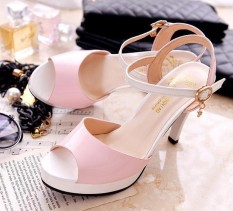 Recent In Europe And America Spell Color High Heeled Waterproof Taiwan Women S Shoes New Style Sandals Pink Pink