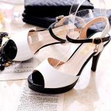 In Europe And America Spell Color High Heeled Waterproof Taiwan Women S Shoes New Style Sandals White White Promo Code
